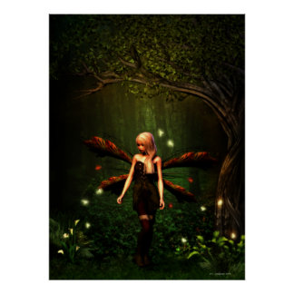 Forest Fairy and Fireflies Poster