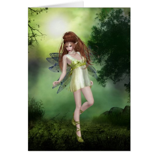 Forest Fairy Red Head Greeting Card