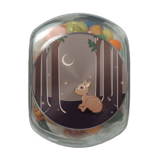 Forest Fawn With Fireflies And Moon Art Glass Candy Jars