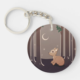 Forest Fawn With Fireflies And Moon Art Double-Sided Round Acrylic Keychain