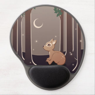 Forest Fawn With Fireflies And Moon Art Gel Mouse Pad