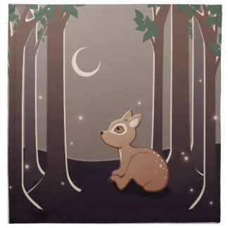Forest Fawn With Fireflies And Moon Art Napkin