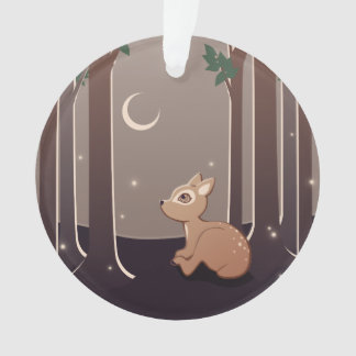 Forest Fawn With Fireflies And Moon Art Ornament