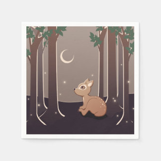 Forest Fawn With Fireflies And Moon Art Paper Napkin