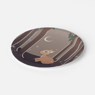 Forest Fawn With Fireflies And Moon Art Paper Plate