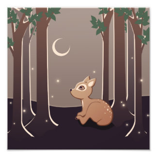 Forest Fawn With Fireflies And Moon Art Photographic Print