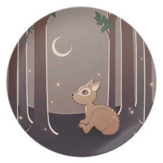 Forest Fawn With Fireflies And Moon Art Party Plates
