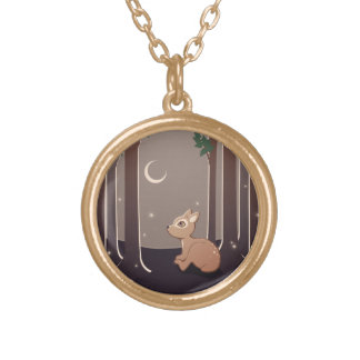 Forest Fawn With Fireflies And Moon Art Round Pendant Necklace