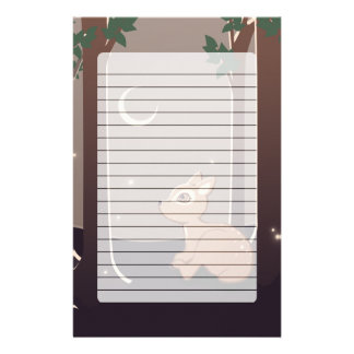 Forest Fawn With Fireflies And Moon Art Stationery