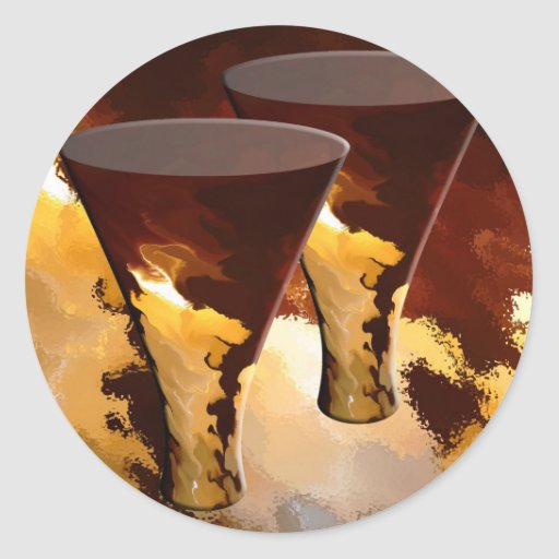 Forest Fire Beverage Glasses Candles Gold Brown Classic Round Sticker