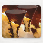 Forest Fire Beverage Glasses Candles Gold Brown Mouse Pad