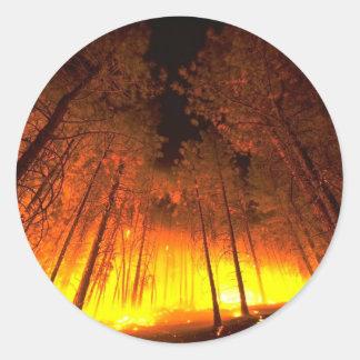 Forest Fire Classic Round Sticker