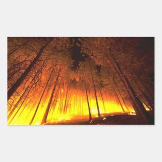 Forest Fire Rectangular Sticker