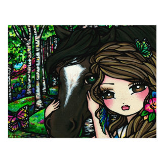 Forest Flower Horse Girl Fairy Fantasy Postcard