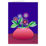 Forest flowers in a red pot greeting card