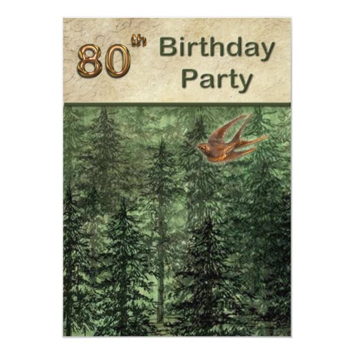 Forest for the Trees Birthday Party 80 5x7 Paper Invitation Card