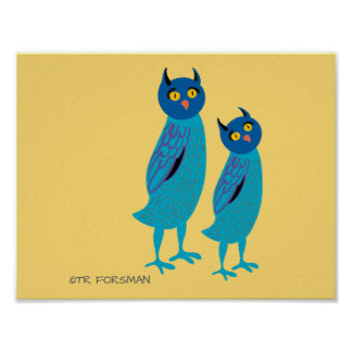 Forest friends. Baby animals. Owls Poster