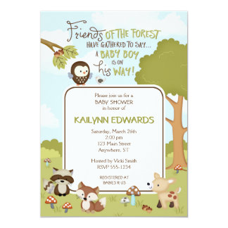 Forest Friends Baby BOY Shower Invitation