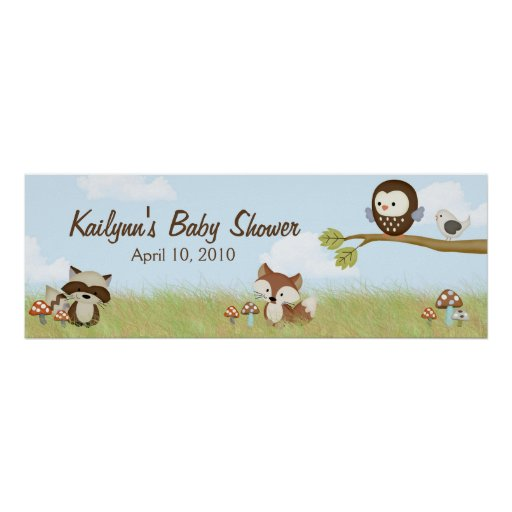 Forest Friends Baby Shower Banner Posters
