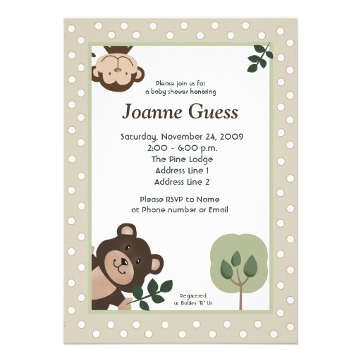 Forest Friends Bear & Monkey Baby Shower 5x7 Personalized Invite