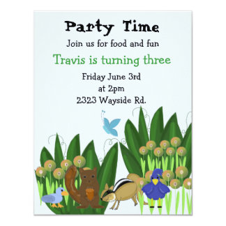 Forest Friends Birthday Party Invitation