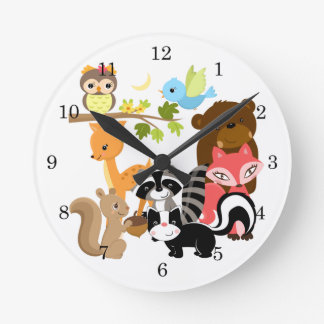 Forest Friends Round Wall Clock