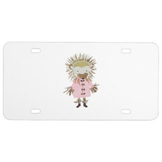 Forest Friends Cute Hand Painted Hedgehog License Plate