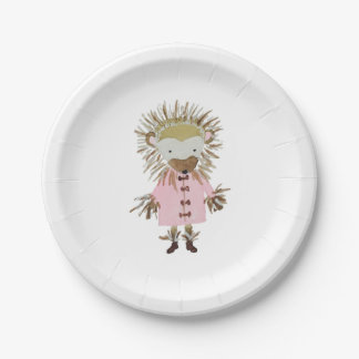 Forest Friends Cute Hand Painted Hedgehog Paper Plate
