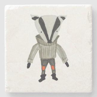 Forest Friends Cute Little Badger Stone Coaster