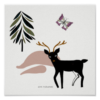 Forest friends.Deer butterfly  print for kids