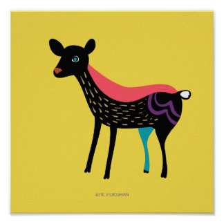 Forest friends. Deer print for kids