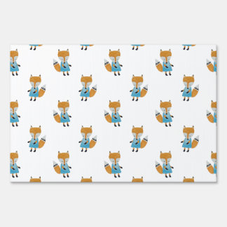 Forest Friends Fox All-Over Repeat Pattern Sign