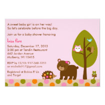 Forest Friends Girls Baby Shower Invitation