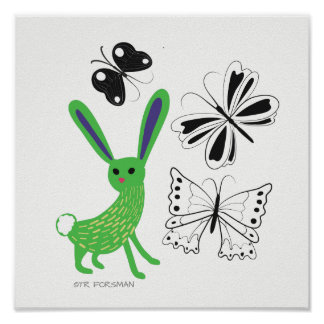 Forest friends. Green bunny and butterflies Poster