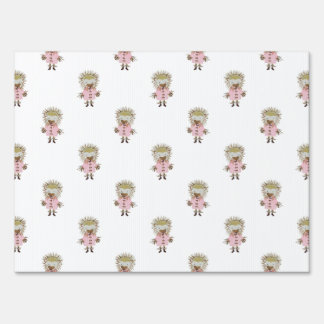 Forest Friends Hedgehog All Over Repeat Pattern Lawn Signs