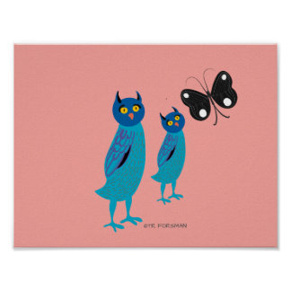 Forest friends. Mommy baby owls Poster