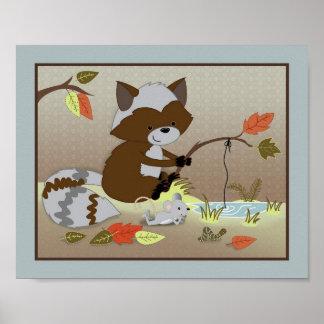 Forest Friends Nursery Art - Raccoon Poster