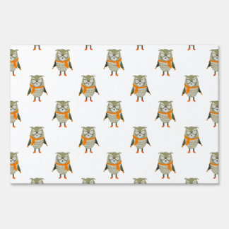 Forest Friends Owl All-Over Repeat Pattern Lawn Signs