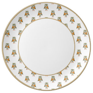 Forest Friends Owl All-Over Repeat Pattern Plate