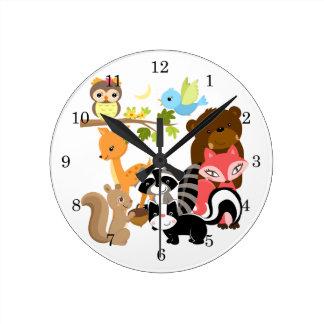 Forest Friends Round Clock