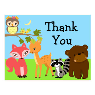 Forest Friends Woodland Thank You Postcard