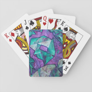 Forest Ghost - abstract art collage green purple Playing Cards
