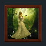 """Forest Girl Jewelry Box<br><div class=""""desc"""">Beautiful magical scene of a woman walking through a forest</div>"""