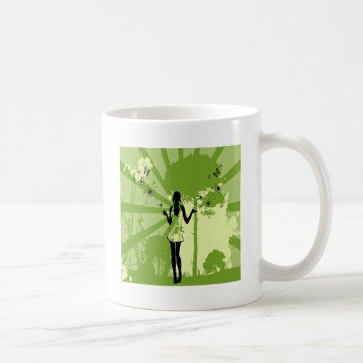 Forest Girl Retro Art Coffee Mug