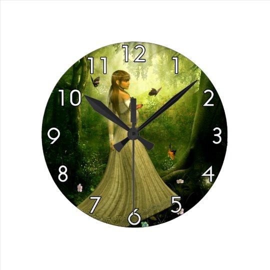 Forest Girl Round Clock