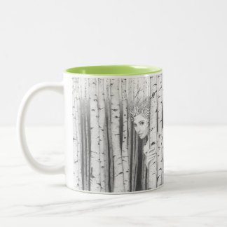 Forest Girl 'Saltus Puella' happy thought coffee Two-Tone Coffee Mug
