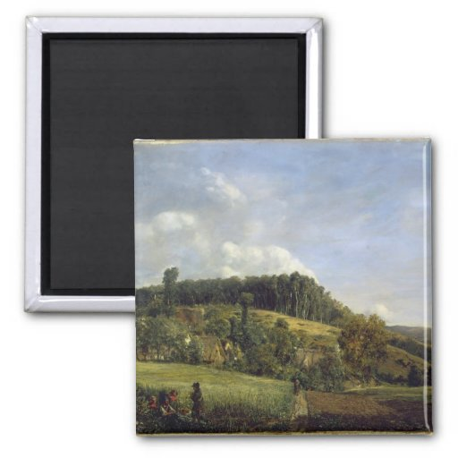 Forest Glade near a Village, 1833 2 Inch Square Magnet
