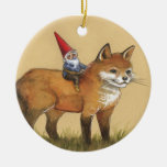 Forest Gnome and Red Fox Double-Sided Ceramic Round Christmas Ornament