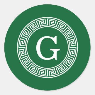 Forest Gr Wht Greek Key Rnd Frame Initial Monogram Classic Round Sticker