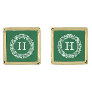 Forest Gr Wht Greek Key Rnd Frame Initial Monogram Gold Cufflinks
